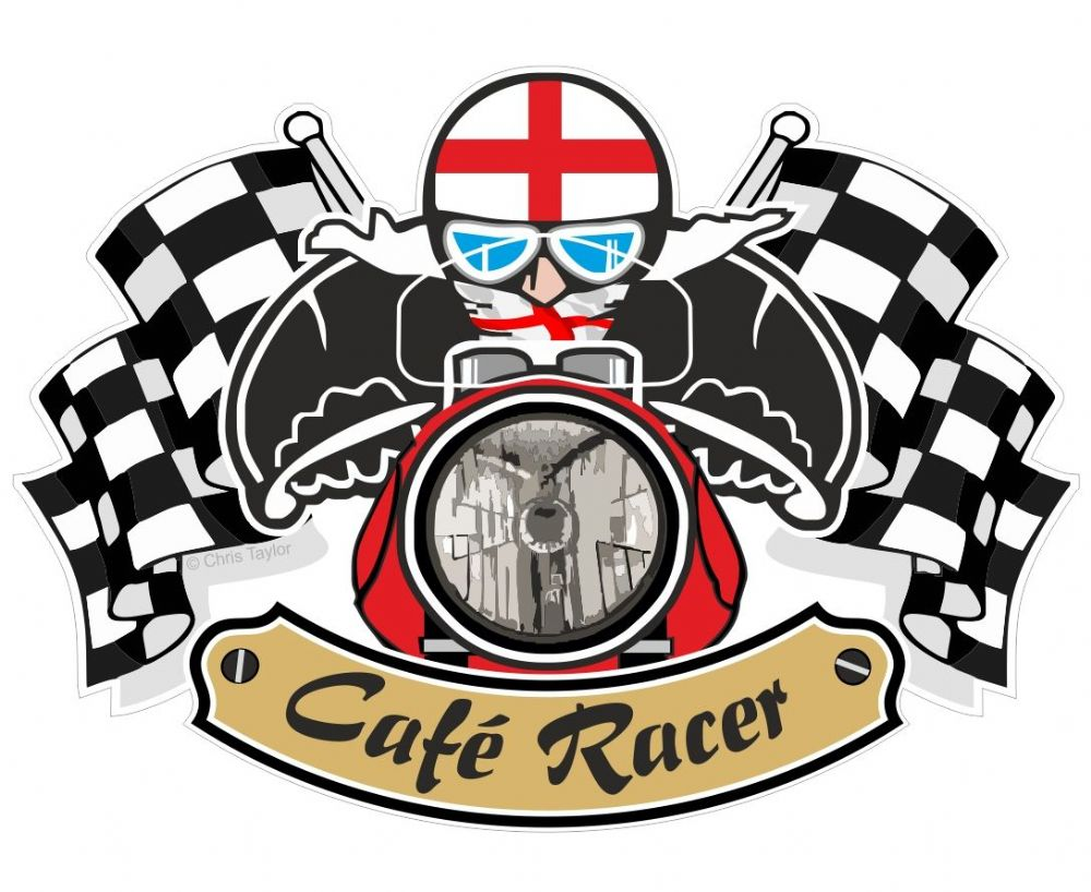 Retro Cafe Racer Ton Up Club Design With St Georges Cross